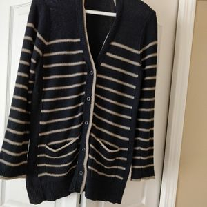 Eddie Bauer navy & tan striped cardigan, large